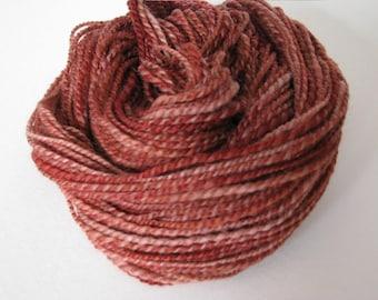 Hand spun 2ply dk Polwarth wool yarn Rosewood