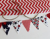 Patriotic mini pennant flags. Fourth of July Bunting, Red White Blue party decoration. Stars and Stripes fabric sewn flag banner. Photo prop