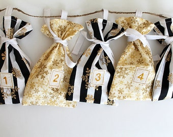 Snowflake stripes, black metallic gold Advent bags, fabric bag, Calendar. Count down December. 12 days of Christmas. gift bags. Kids gift