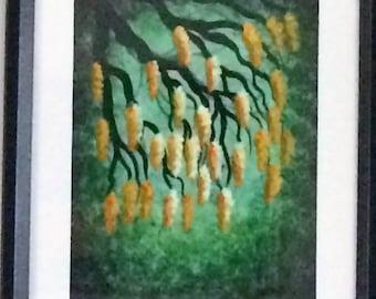 Original Acrylic painting, TREE art, Yellow Wisteria, Fine art by Jordanka Yaretz