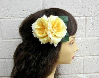 Yellow Rose Hair Clip, Pinup Rose Hair Clip, Shabby Chic Rose Hair Flower, Soft Yellow Rose