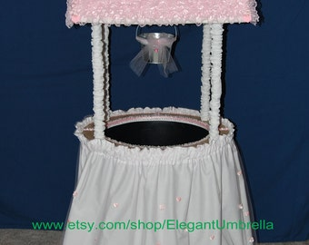 Pink Satin Lace Baby Shower Wishing Well (Barrel Not Included)