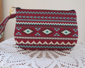 Southwestern Aztec Tribal Bohemian Wedding, Bridal, Bridesmaid, Wristlet, Zipper Gadget Pouch, Smart Phone Bag