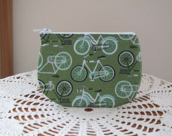 Cruiser Bicycle Business Card Clutch Zipper Small Essential Oils Case Gift Card Holder in  Made in the USA