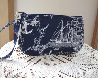 Nautical Ships Wristlet Zipper Gadget Pouch Purse Sailboats Passport Bag Eyeglass Bag Essential Oil Bag