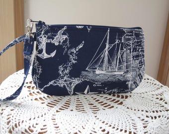 Nautical Ships Wristlet Zipper Gadget Pouch Purse Sailboats Passport Bag Eyeglass Bag Essential Oil Bag