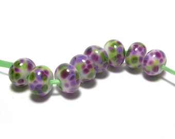 Handmade Lampwork Glass Beads - Purples and Greens - Bougainvillea