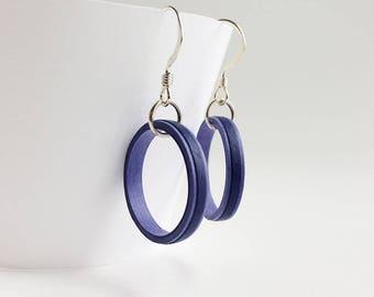 Lightweight dark blue quilled paper hoop dangle earrings, sterling silver earrings, colorful drop hoop earrings, bridesmaid earring gifts