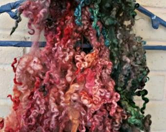 Border Leicester Wool Curls - Hand Dyed Fleece - Curly Wool Sheep Locks - Fiber Art Supplies - Magic Carpet