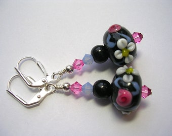 Black and Pink Lampwork Earrings  Leverback Hooks Wire Wrapped Swarovski Crystal Dangle Gifts under 5