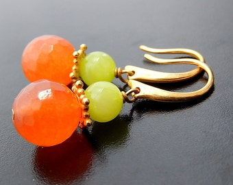 Orange, Green Earrings, Gold Drop Earrings, Tangerine Lime Jade Stone Jewelry