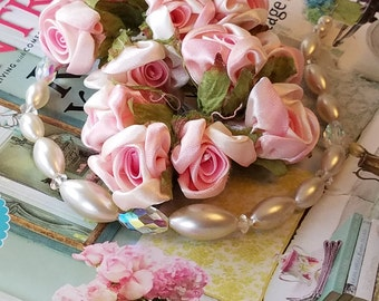 Shabby PINK and Cream Satin Roses with wired stems, Fabric, Wedding, Baby, Shower, Floral Embellishment