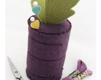 From The Garden - Beet Wool Blend Felt and Cotton Pin Cushion