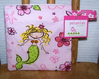 Reusable Little Snack Bag - pouch adults kids mermaid eco friendly by PETUNIAS