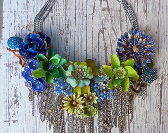 Blue and Green on the fringes ... a statement necklace from Wendy Baker