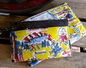 California Souvenir Vintage Map : Wristlet Wallets - Set of 2  - Americana Canvas Leather Handbag- vintage fabric.. Selina Vaughan