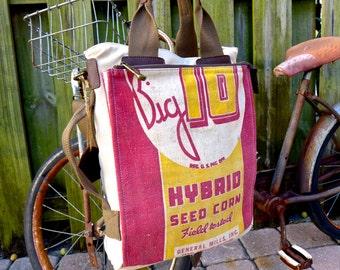 Big 10 Seed Corn - General Mills - Americana Vintage Seed Feed Sack Book Tote W- OOAK Canvas & Leather Tote .. Selina Vaughan