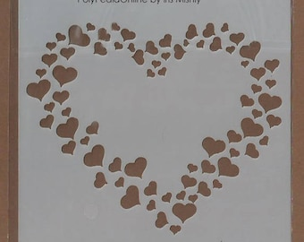 Stencil Stencils Pattern, Cake DIY Decorating, Wall stencil, Template, Reusable, Flexible, for clay, glass, cards | HEARTS | 5.1 inch/13 cm