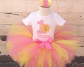 Chevron Sunshine 1st Birthday Tutu Outfit- Personalized Baby Girl- You Are My Sunshine