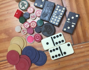 Vintage game pieces for altered art
