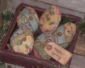 Set of 5 Primitive Country Rustic Pastel Floral Fabric Easter Happy Spring Eggs Bowl Fillers Ornies Basket Fillers Tucks