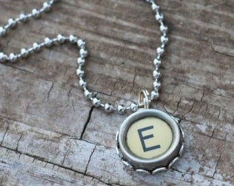 Personalized Initial Necklace, Vintage Typewriter Key, Letter E