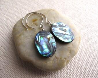 Teardrop Abalone Earrings, Sterling Silver Ear Wires, Paua Earrings