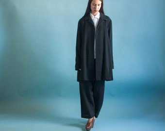 black short coat / black lightweight wool jacket / black mini coat / m / 2046o / R5