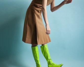 60s knit pleated dress / vintage MOD dress / scooter dress / s / 1353d / B6