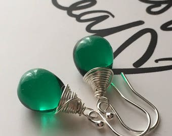Emerald Green Earrings. Green Bead Teardrop Earrings. Sterling Silver Earrings. Wire Wrapped Earrings. Wedding Earrings. UK Seller