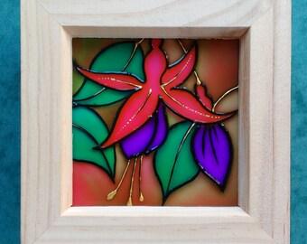 Fuschia Glass Art Painting / Original Design / Flower Art / 12cm Box Frame