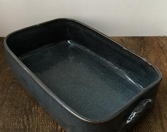 Dark Blue Lasagna Casserole Stoneware Pottery Ready to sip