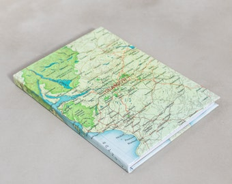 Map of Glasgow , lanarkshire travel journal - scotland map notebook - Map sketchbook - Glasgow journal - personalised map gift - stationery