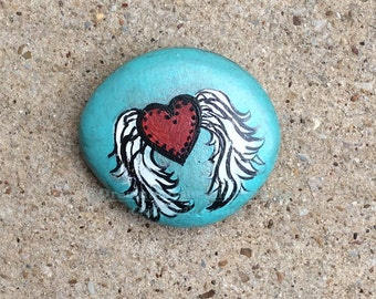 Painted Rocks, Painted Stone, Mandala Stone, Red Heart Stone, Aqua and Red, Mandala Rock, Meditation Stone, Zen Garden, Zen Art, Free Spirit