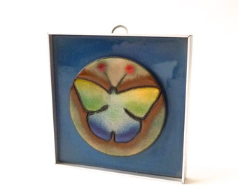 James Parker Modernist Enamel Wall Hanging  Butterfly Mid Century Modern California Modern