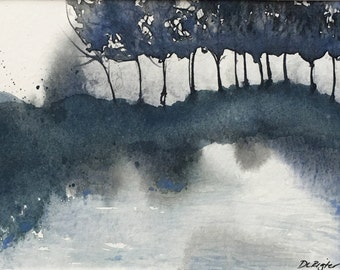 Hanging Raindrops...Original Watercolor. Landscape.