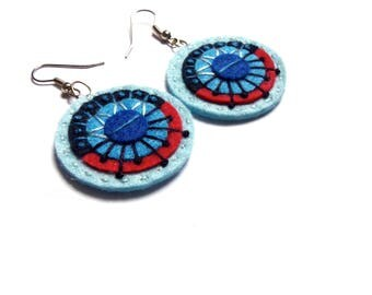 AZTEC EARRINGS - Felt and hand embroidery