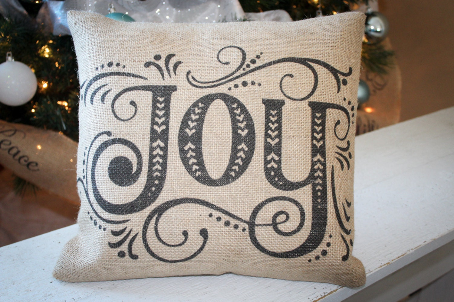 Scandinavian Design Throw Pillows : Scandinavian style Joy Christmas throw pillow - festive holiday home decor