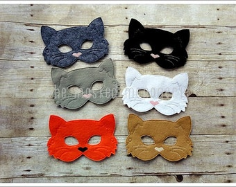 Cat Mask Black Cat Mask Stocking Stuffer Birthday Party Favors Halloween Mask Easter Basket Pretend Play Creative Play Masks Felt Mask