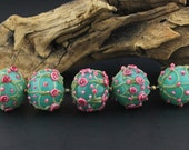Lampwork Glass Baubles Teal Pink Green