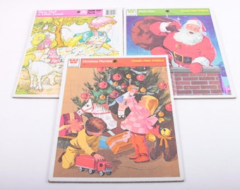Vintage, Tray Puzzles, Set of 3, Whitman, Kids, Children, Activity, Complete, Cardboard, Christmas ~ The Pink Room ~ 161122