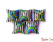 Polymer clay pillow beads - black and white stripes colorful circles beads - handmade beads  - 20mm (5)