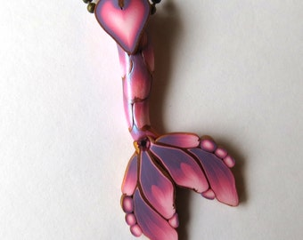 Valentine Mermaid Tail Necklace, Pink Mermaid Jewelry, Polymer Clay Mermaid Tail