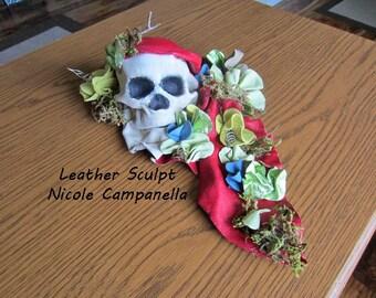 SKull Leather Sculpt Leather Flowers Human SKull Art Fine Art Free Shippi