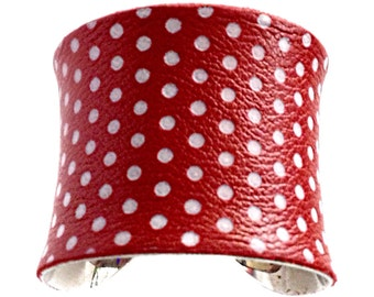 Red and White Polka Dot Leather Cuff Bracelet - by UNEARTHED