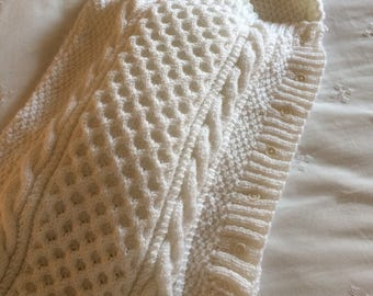 Baby Cocoon/Knit Baby Sleeping Bag/White Knit Baby Suit/Knit Baby Snuggle Sack-Ready to Ship