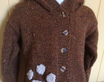 Baby Bear Sweater/ Brown Bear Baby Jacket/ Bear Hooded Cardigan- Ready to Ship