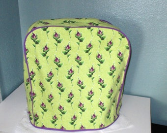 Kitchen aid mixer cover in bright green and purple.  Shabby Chic-ish