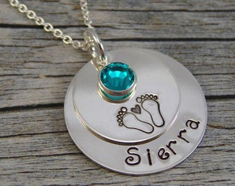 Hand Stamped Jewelry - Personalized Jewelry - New Mom Necklace - Sterling Silver Necklace - One Name One Birthstone - Footprints with Heart
