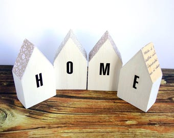 Little wooden house ornaments, HOME letters/text. Mini modern rustic word home decor, white/neutral.